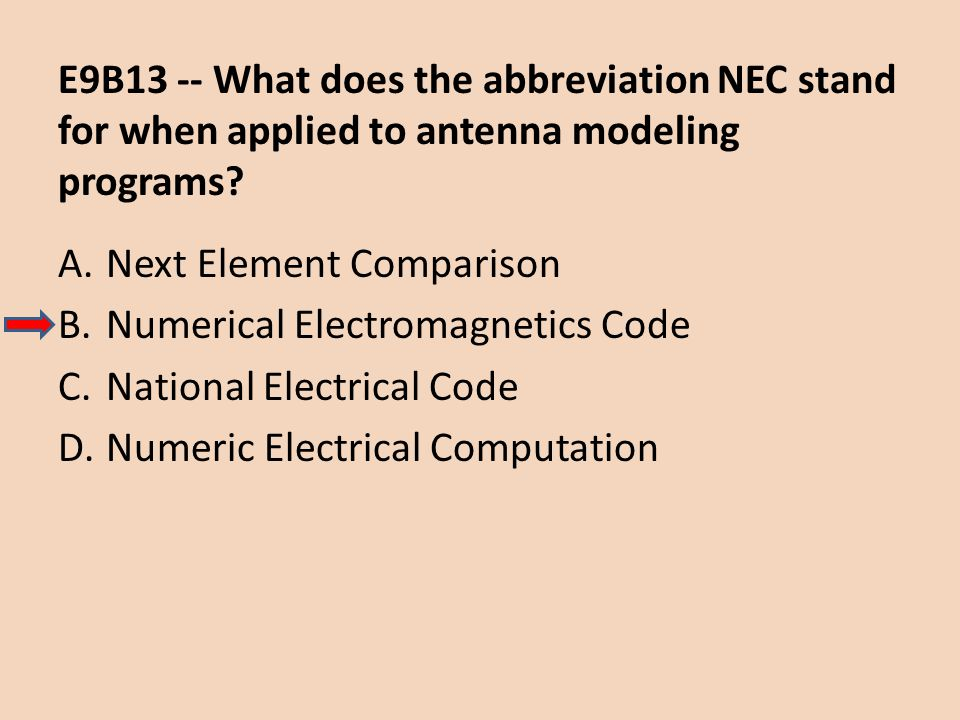 E9B13 -- What does the abbreviation NEC stand for when applied to antenna modeling programs
