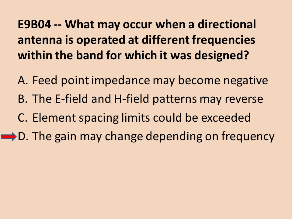 E9B04 -- What may occur when a directional antenna is operated at different frequencies within the band for which it was designed