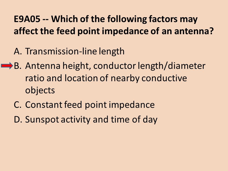 E9A05 -- Which of the following factors may affect the feed point impedance of an antenna