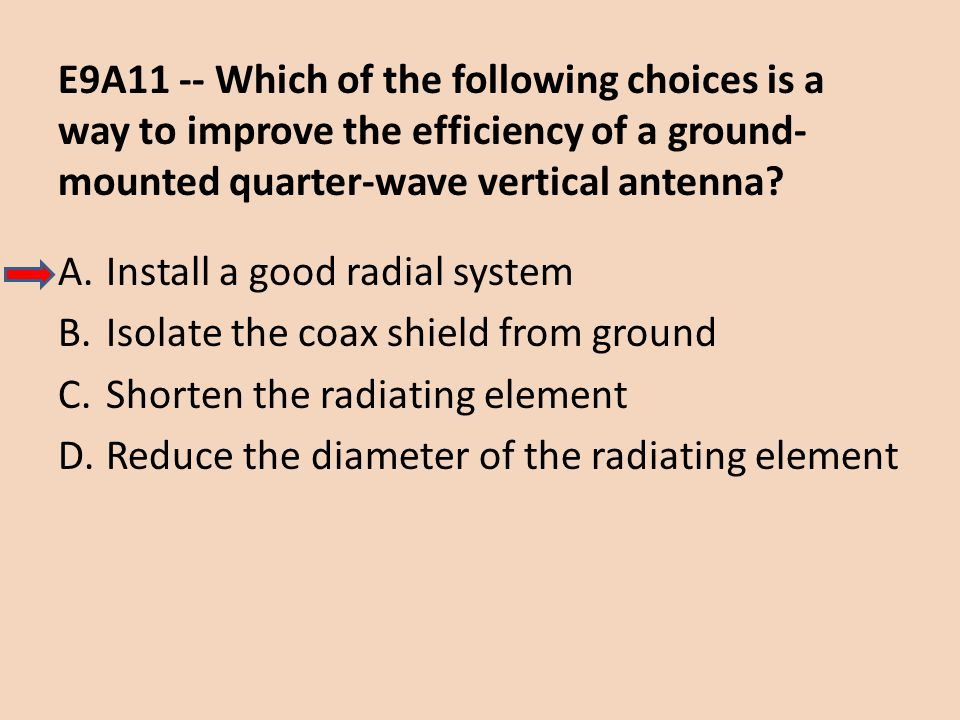 E9A11 -- Which of the following choices is a way to improve the efficiency of a ground-mounted quarter-wave vertical antenna