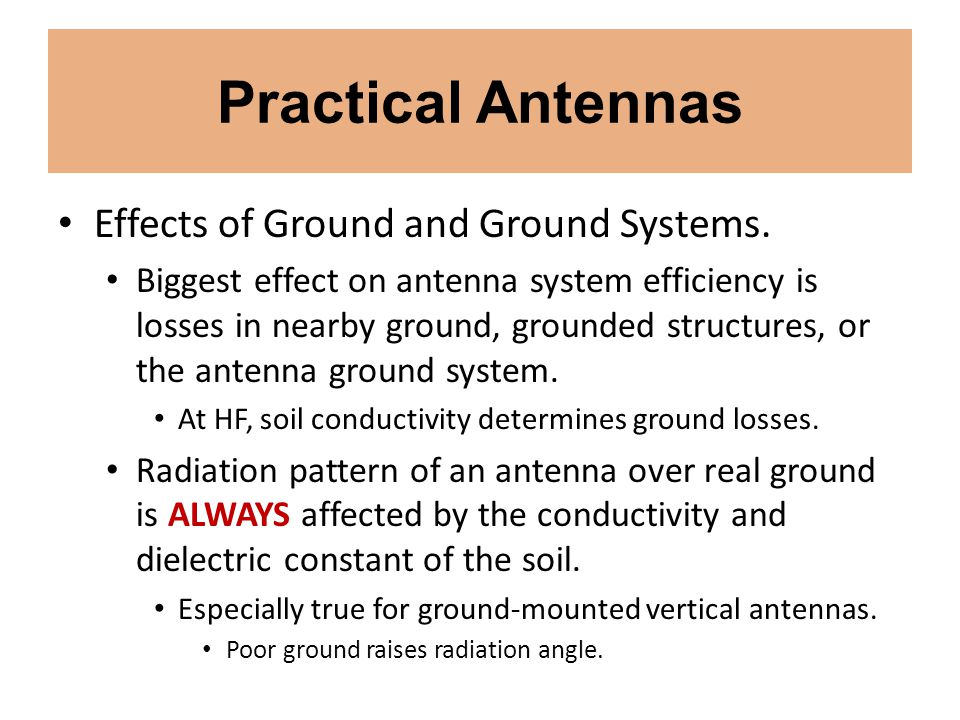 Practical Antennas Effects of Ground and Ground Systems.