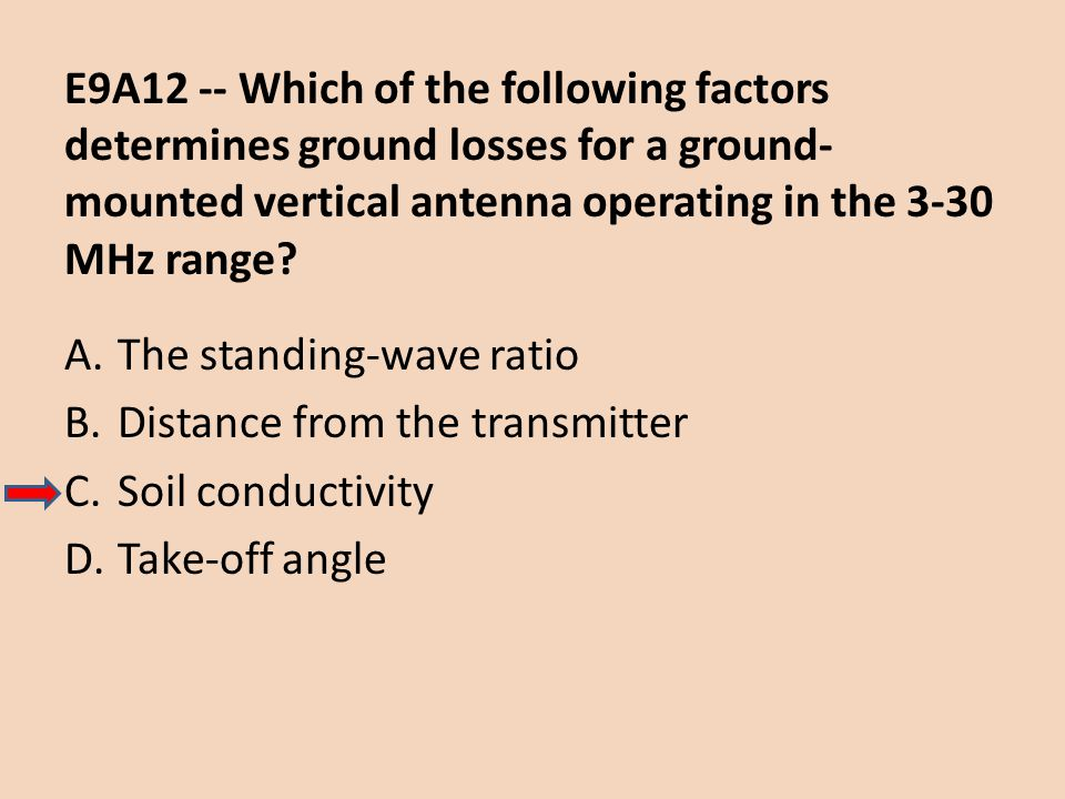E9A12 -- Which of the following factors determines ground losses for a ground-mounted vertical antenna operating in the 3-30 MHz range