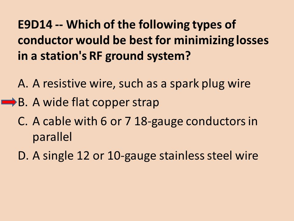 E9D14 -- Which of the following types of conductor would be best for minimizing losses in a station s RF ground system