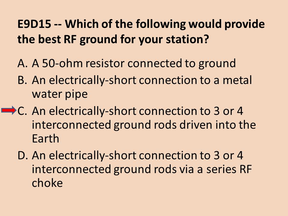 E9D15 -- Which of the following would provide the best RF ground for your station