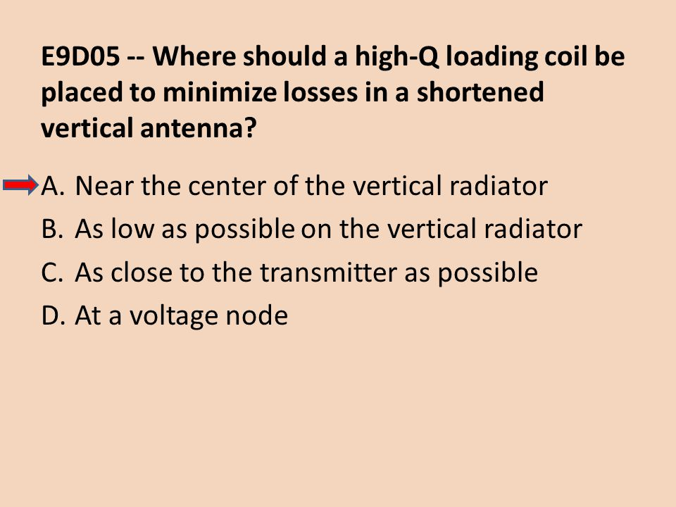 E9D05 -- Where should a high-Q loading coil be placed to minimize losses in a shortened vertical antenna