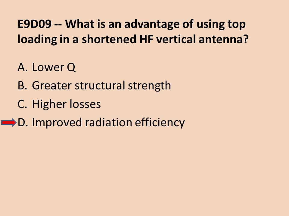 E9D09 -- What is an advantage of using top loading in a shortened HF vertical antenna