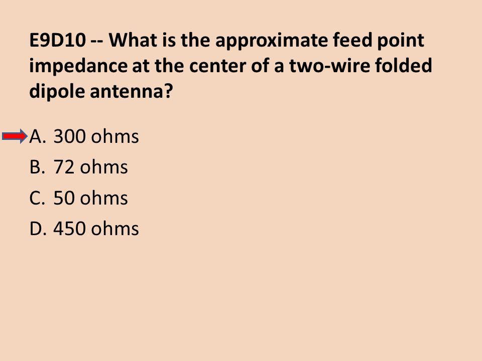 E9D10 -- What is the approximate feed point impedance at the center of a two-wire folded dipole antenna