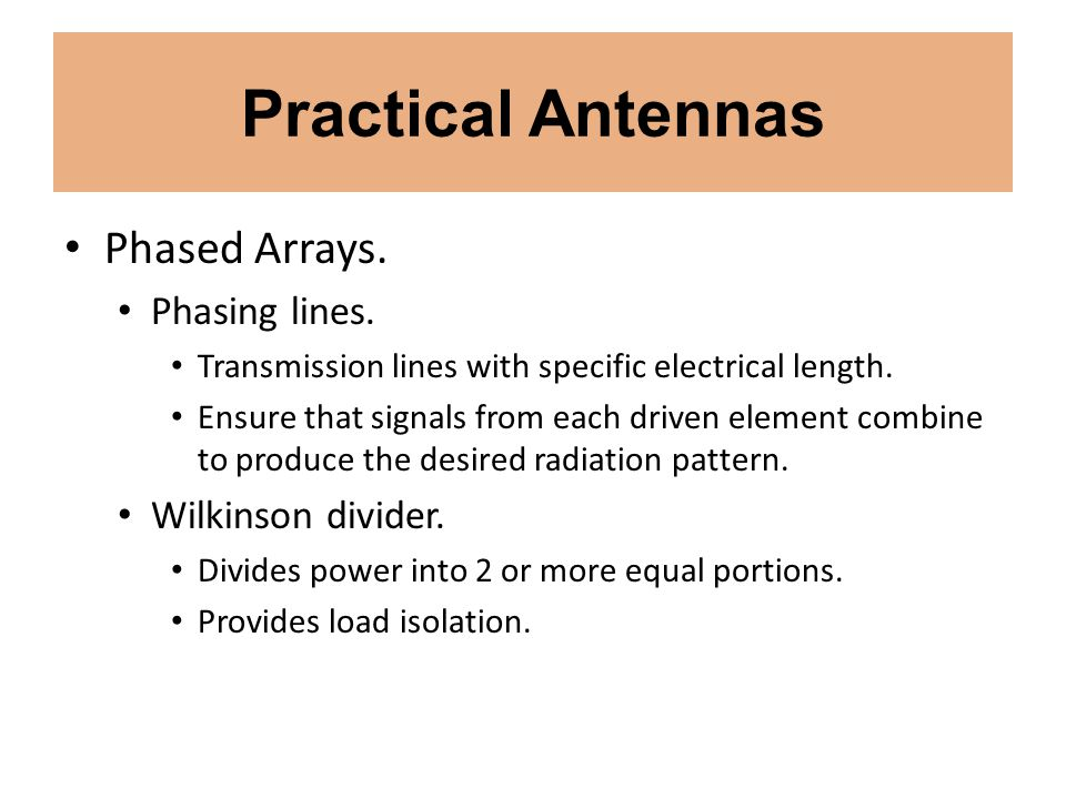 Practical Antennas Phased Arrays. Phasing lines. Wilkinson divider.