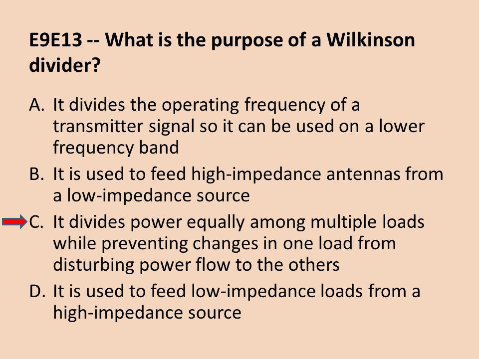 E9E13 -- What is the purpose of a Wilkinson divider