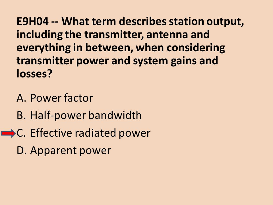 E9H04 -- What term describes station output, including the transmitter, antenna and everything in between, when considering transmitter power and system gains and losses