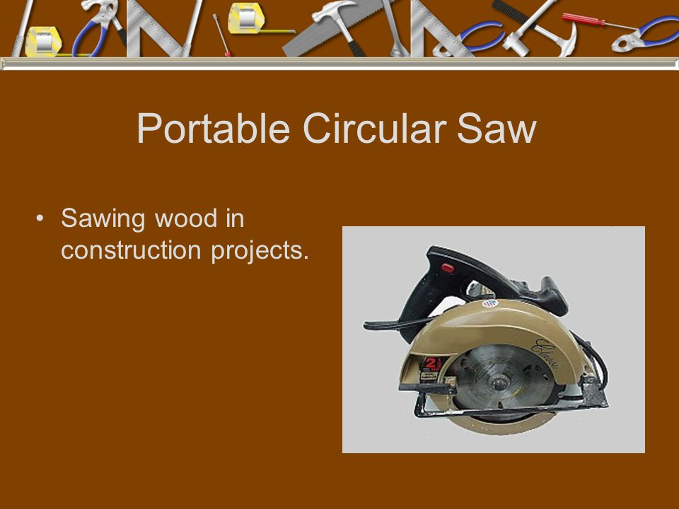 Portable Circular Saw Sawing wood in construction projects.