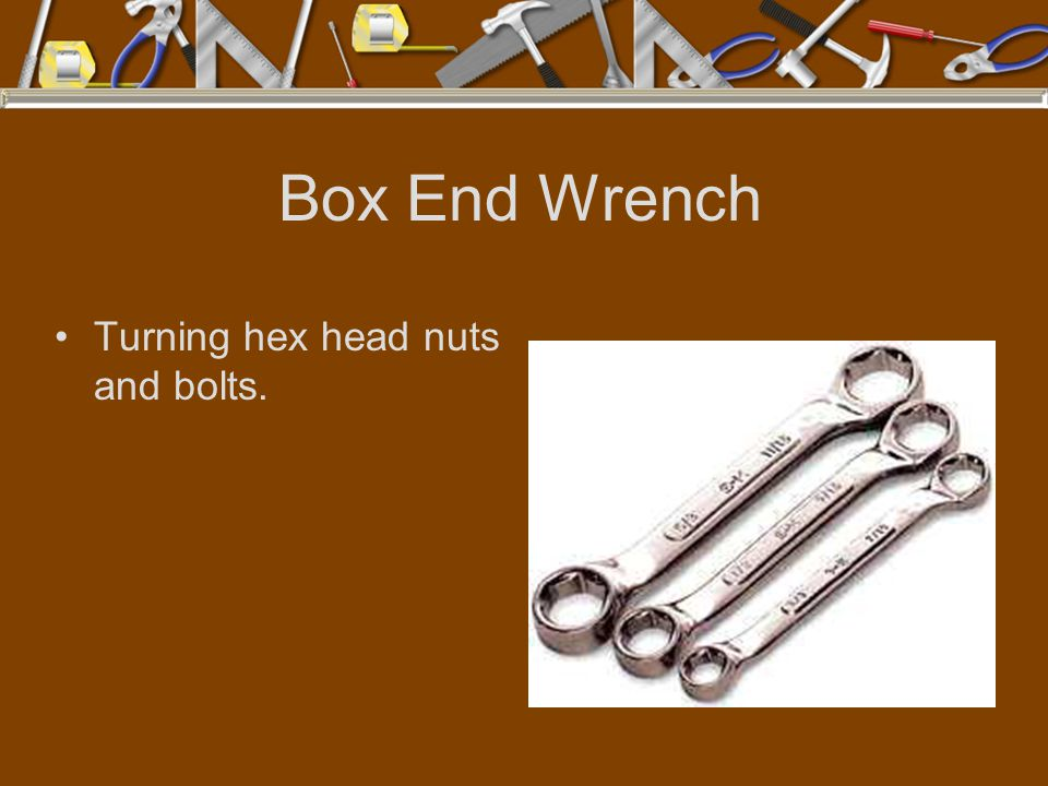Box End Wrench Turning hex head nuts and bolts.