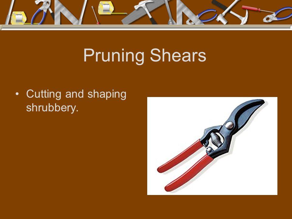 Pruning Shears Cutting and shaping shrubbery.