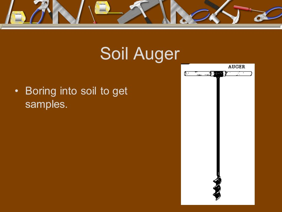 Soil Auger Boring into soil to get samples.