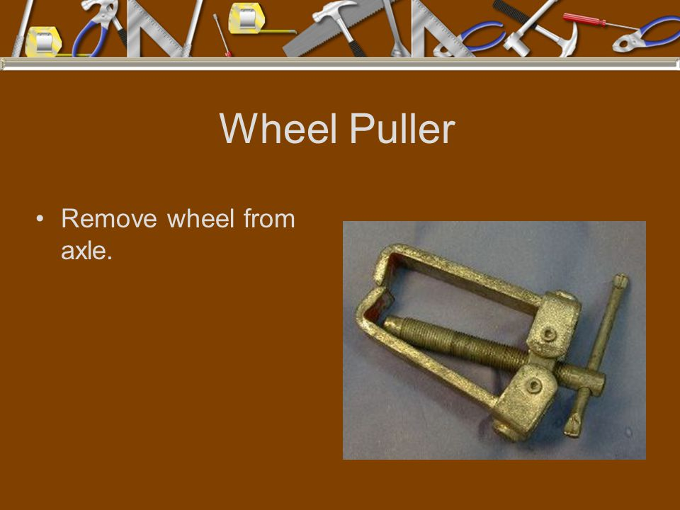 Wheel Puller Remove wheel from axle.