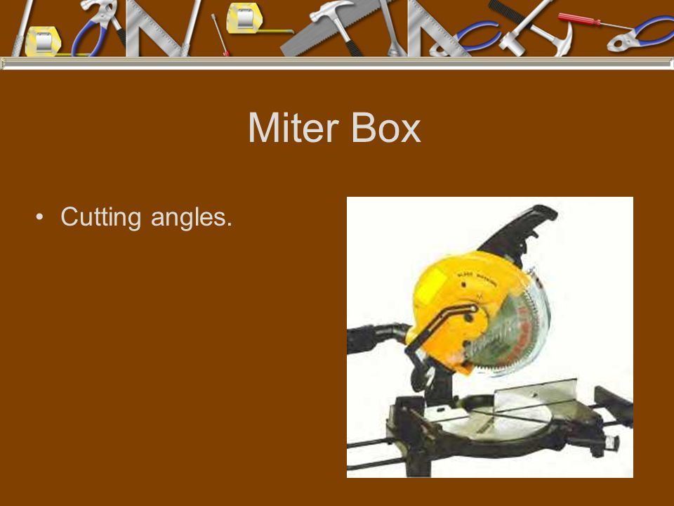 Miter Box Cutting angles.
