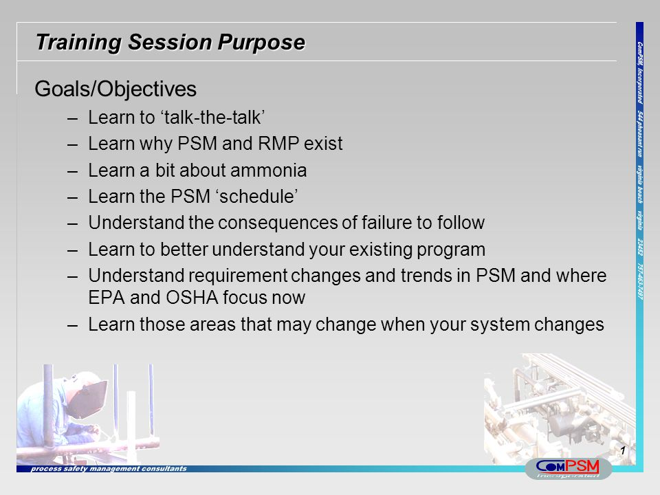 Training Session Purpose