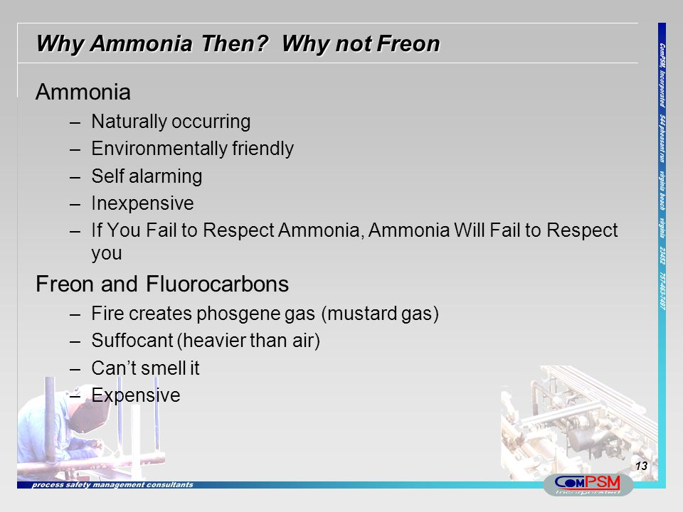Why Ammonia Then Why not Freon