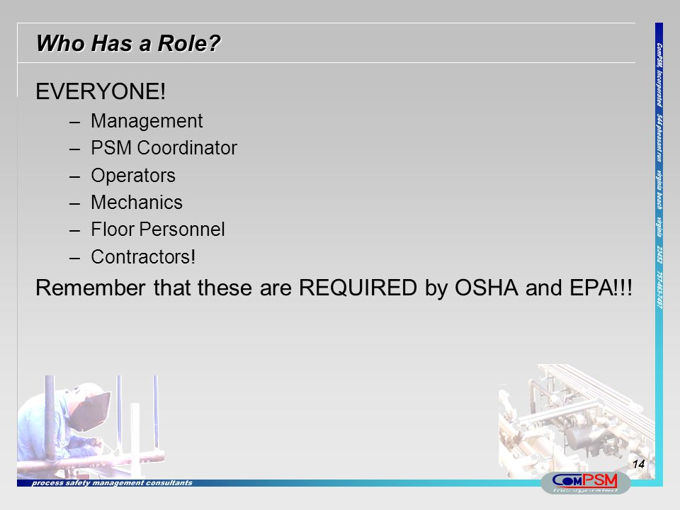 Remember that these are REQUIRED by OSHA and EPA!!!