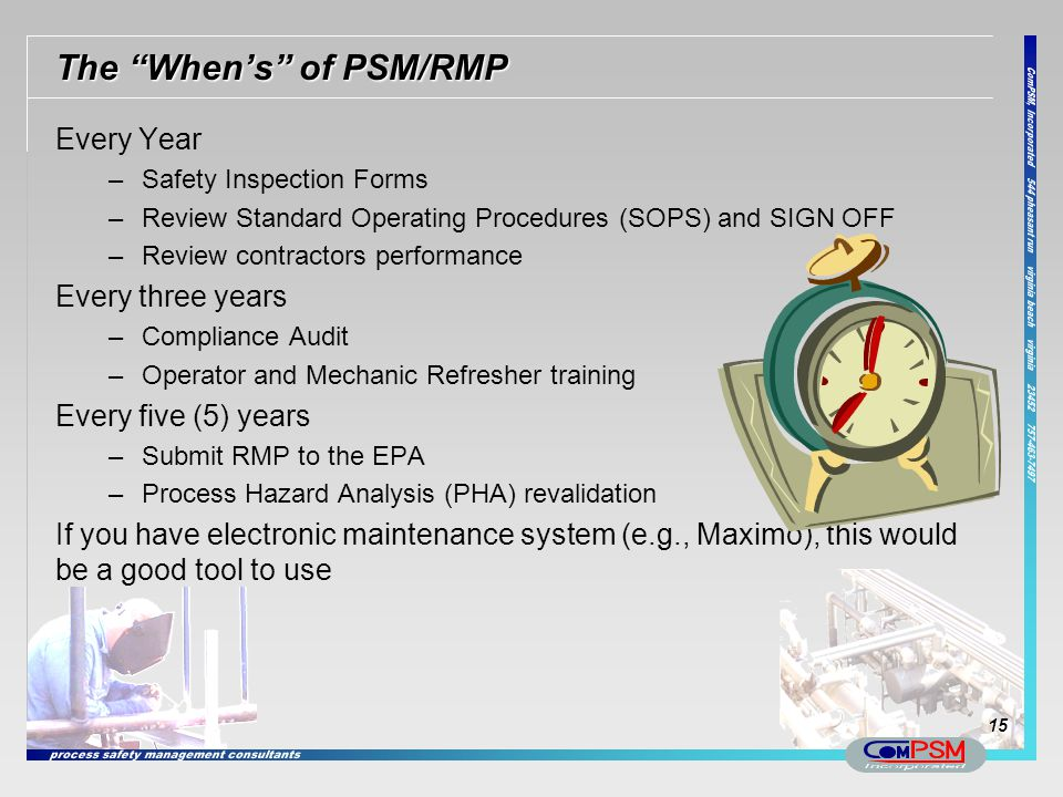 The When's of PSM/RMP