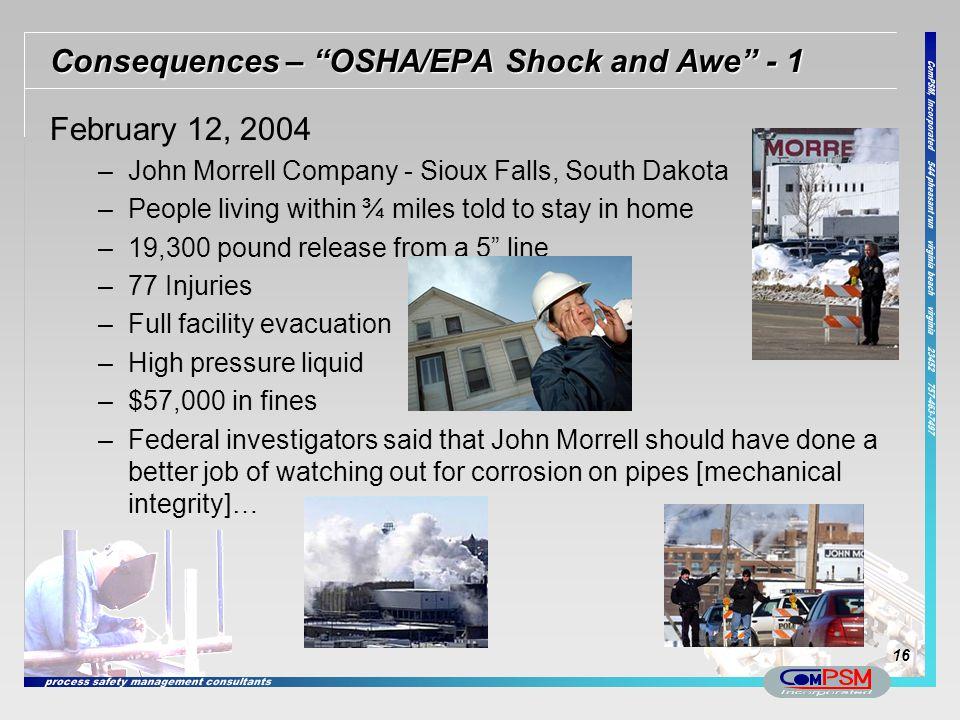 Consequences – OSHA/EPA Shock and Awe - 1