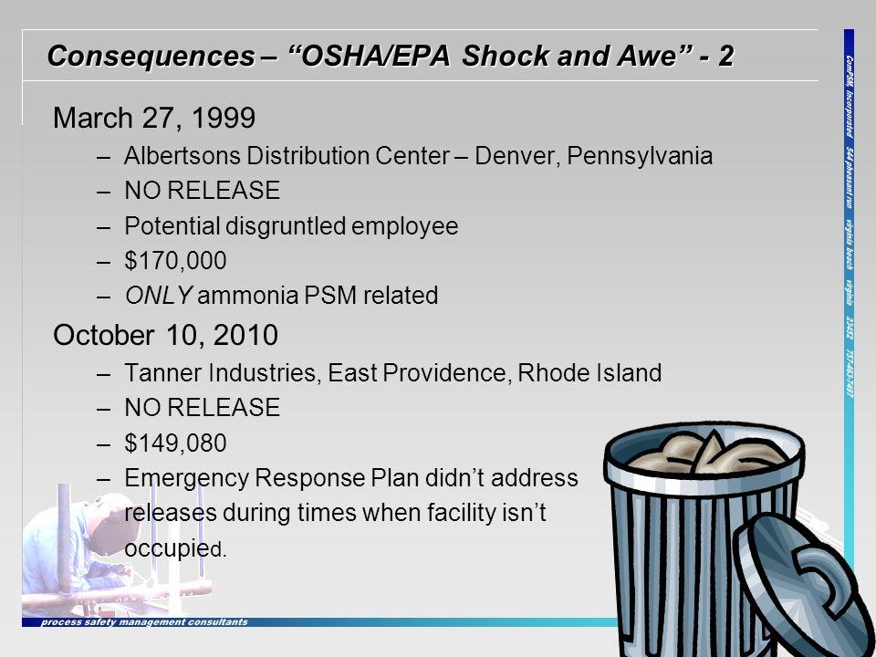 Consequences – OSHA/EPA Shock and Awe - 2