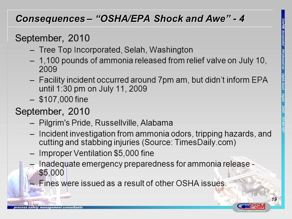 Consequences – OSHA/EPA Shock and Awe - 4