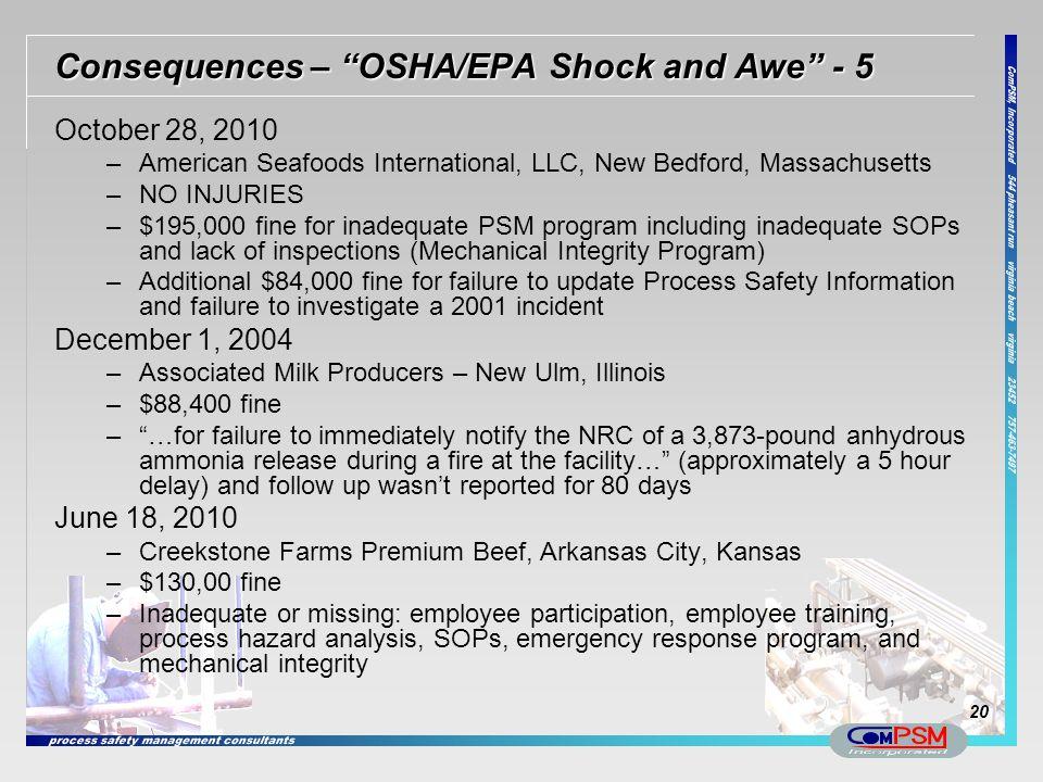 Consequences – OSHA/EPA Shock and Awe - 5