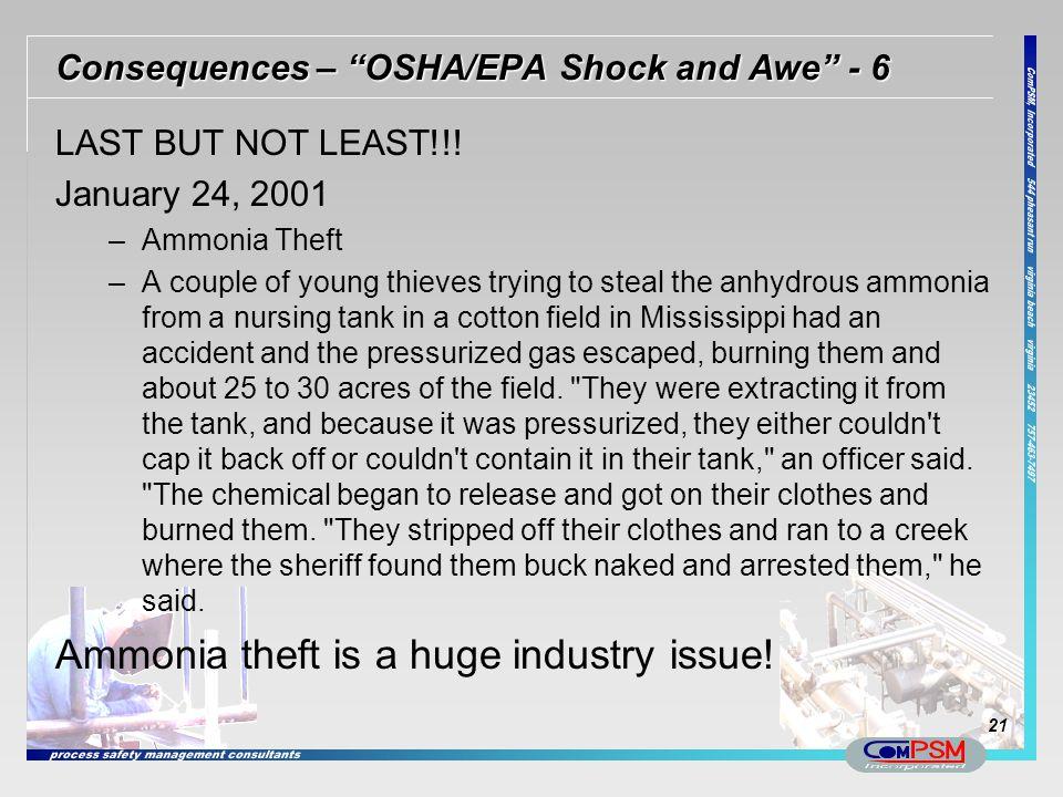 Consequences – OSHA/EPA Shock and Awe - 6
