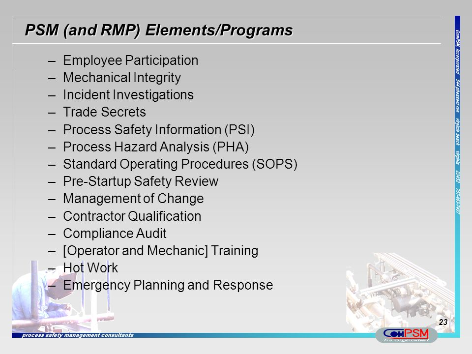 PSM (and RMP) Elements/Programs