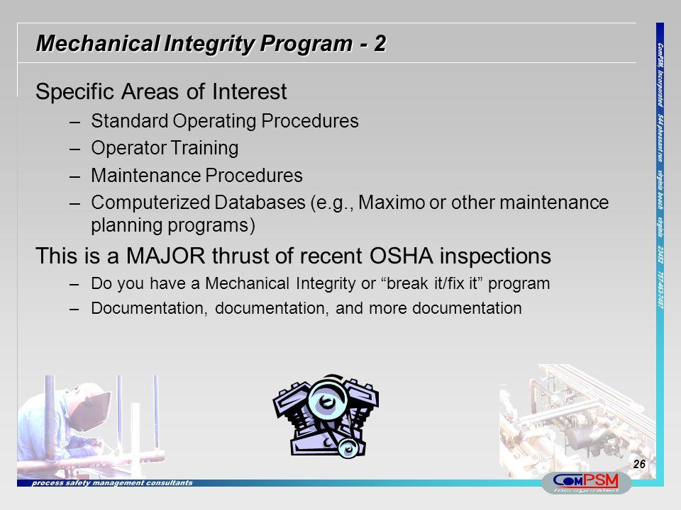 Mechanical Integrity Program - 2