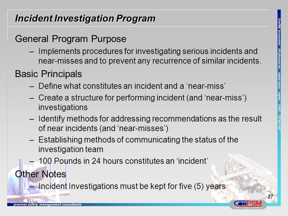 Incident Investigation Program
