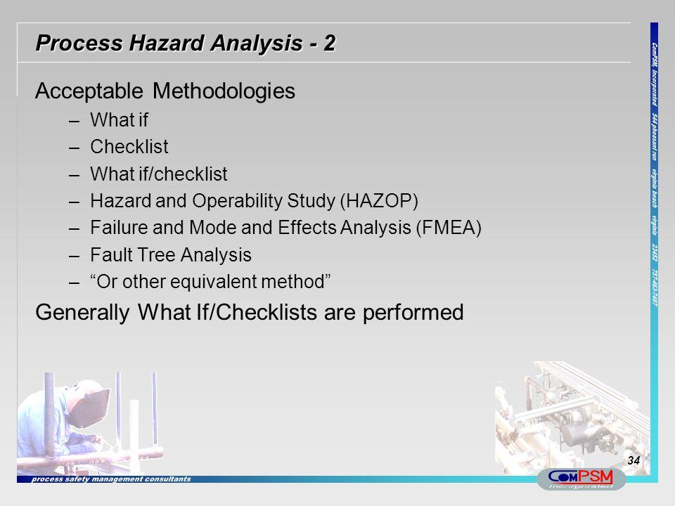 Process Hazard Analysis - 2