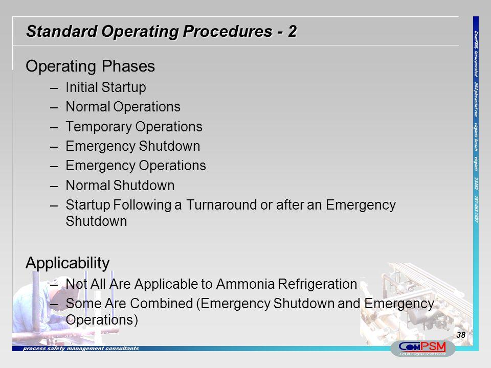 Standard Operating Procedures - 2