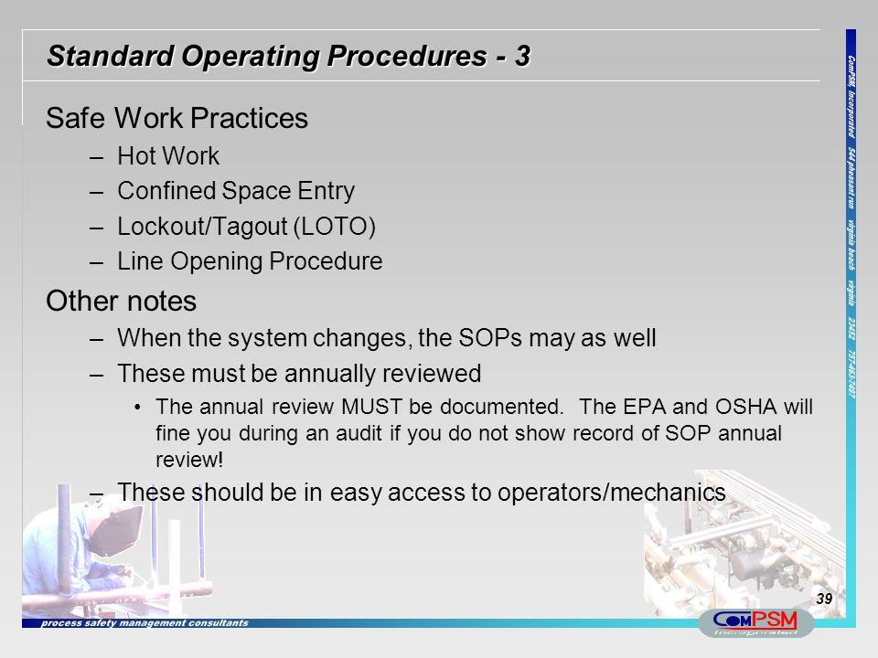 Standard Operating Procedures - 3