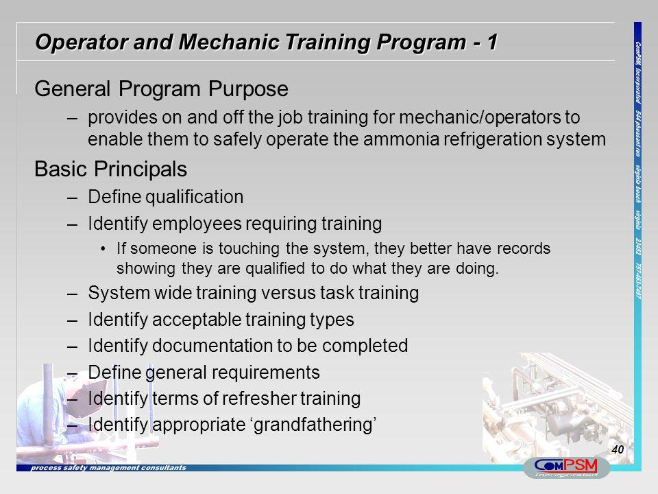 Operator and Mechanic Training Program - 1