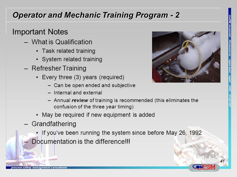 Operator and Mechanic Training Program - 2