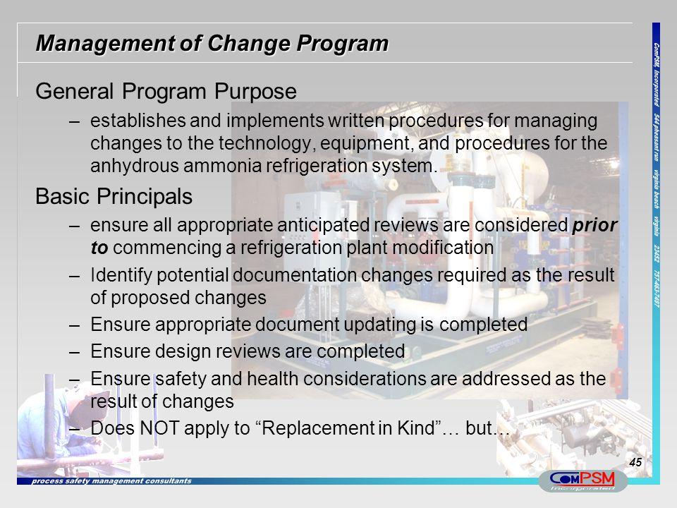 Management of Change Program