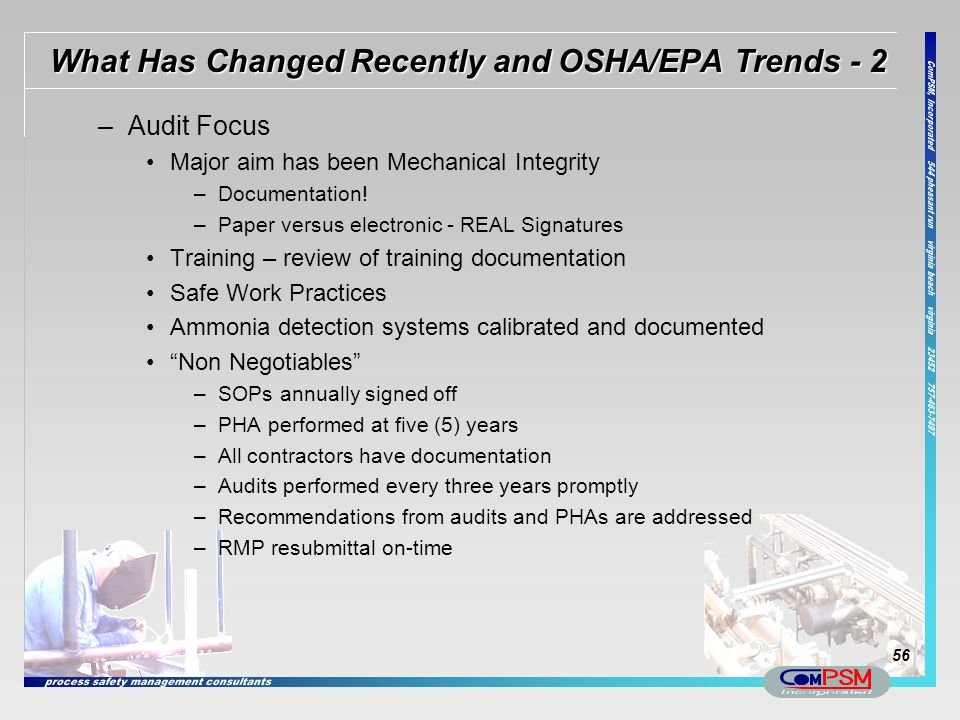 What Has Changed Recently and OSHA/EPA Trends - 2