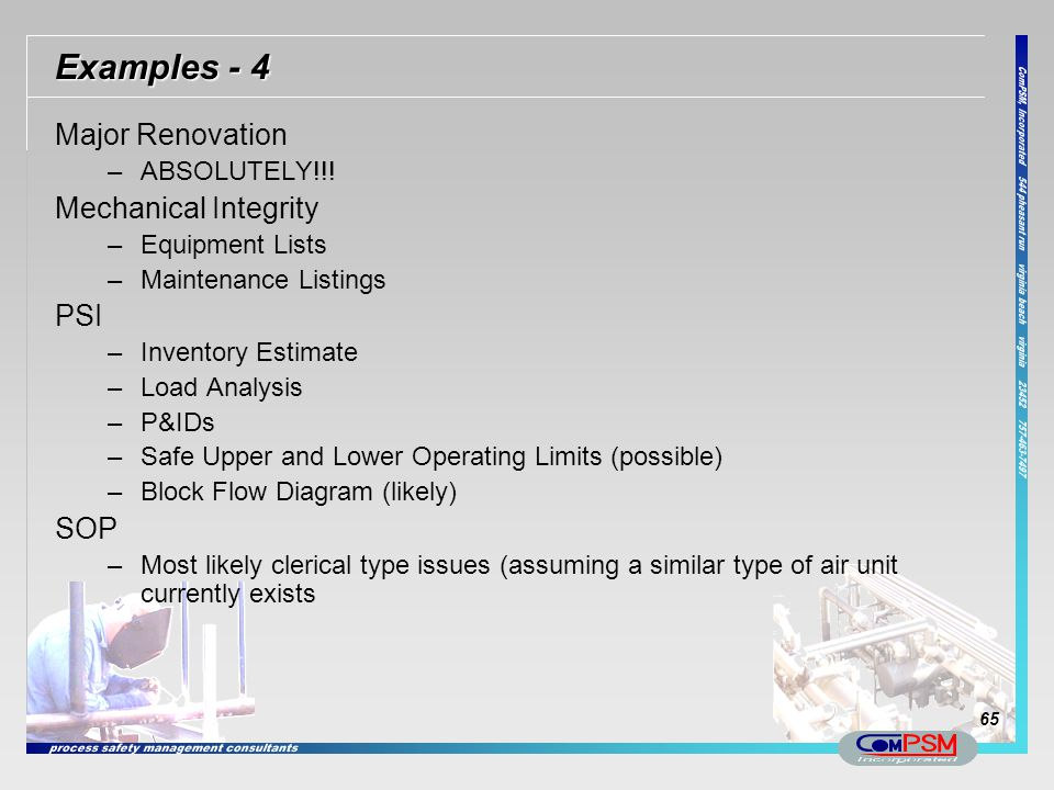 Examples - 4 Major Renovation Mechanical Integrity PSI SOP