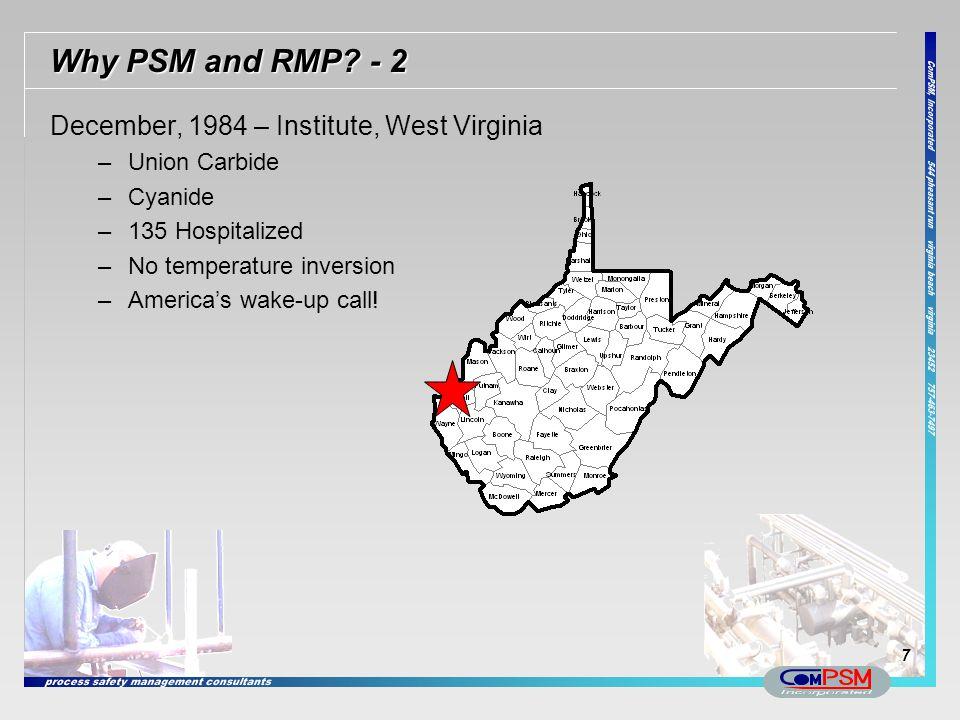 Why PSM and RMP - 2 December, 1984 – Institute, West Virginia