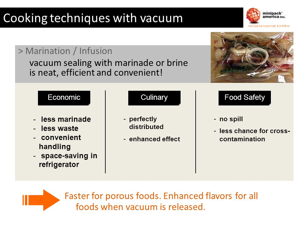 Cooking techniques with vacuum