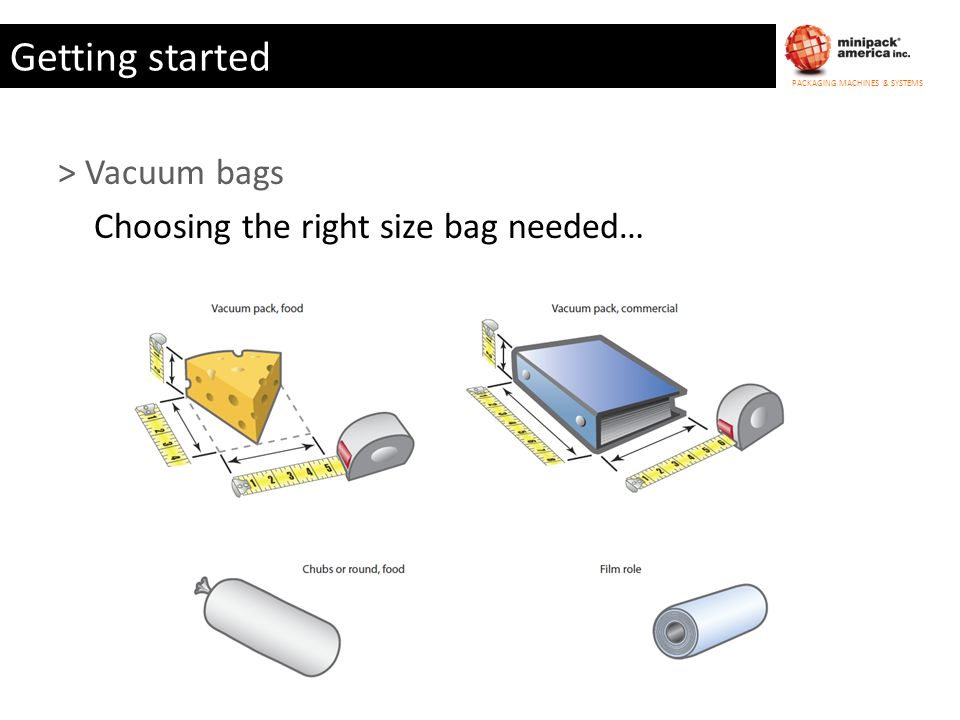 Getting started > Vacuum bags Choosing the right size bag needed…