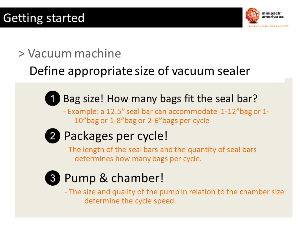 Define appropriate size of vacuum sealer