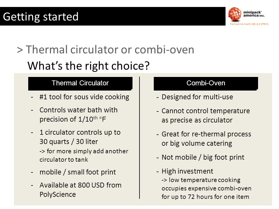 > Thermal circulator or combi-oven What's the right choice