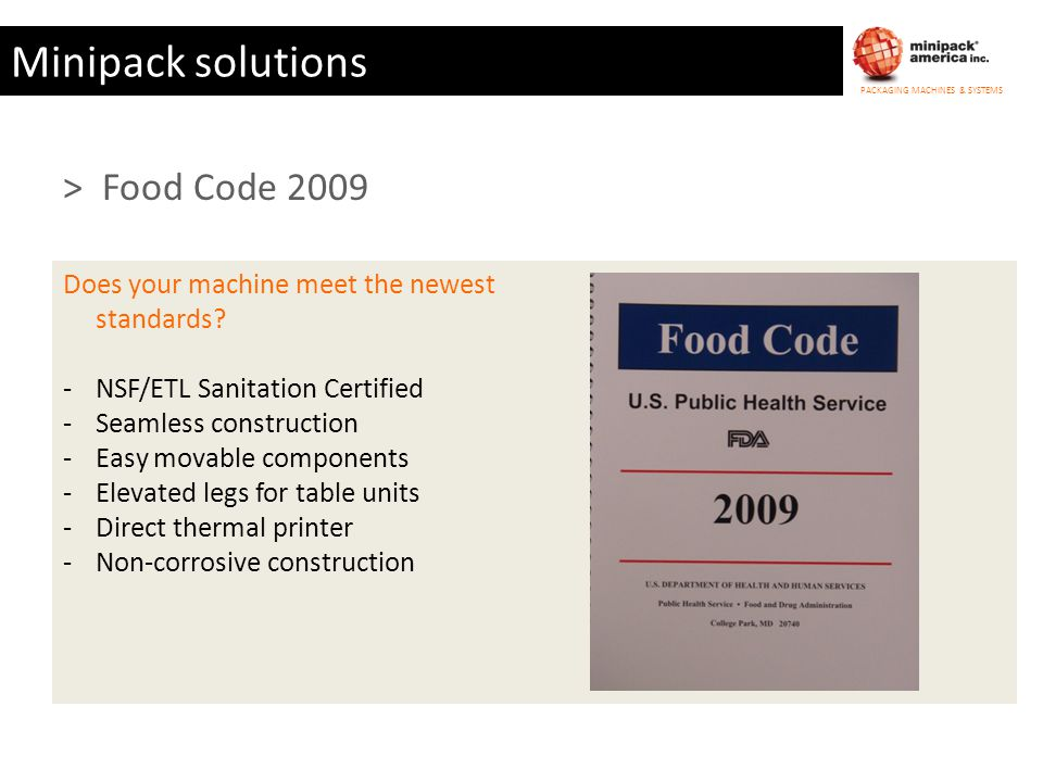 Minipack solutions > Food Code 2009