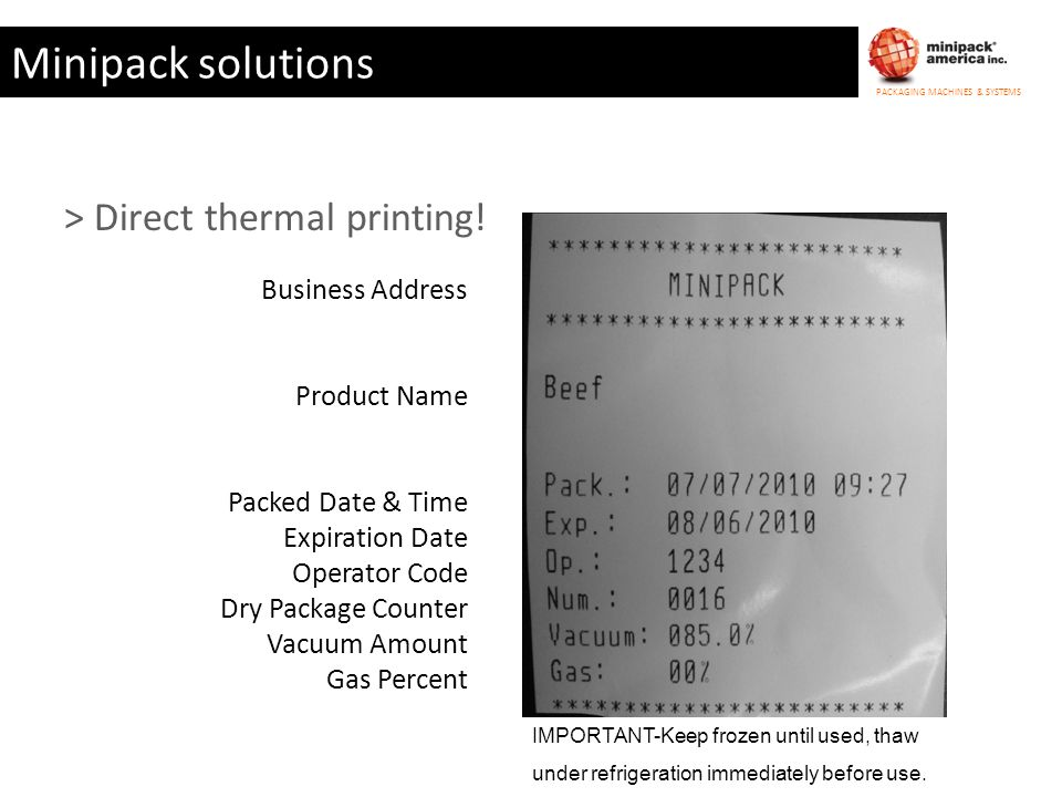 Minipack solutions > Direct thermal printing! Business Address