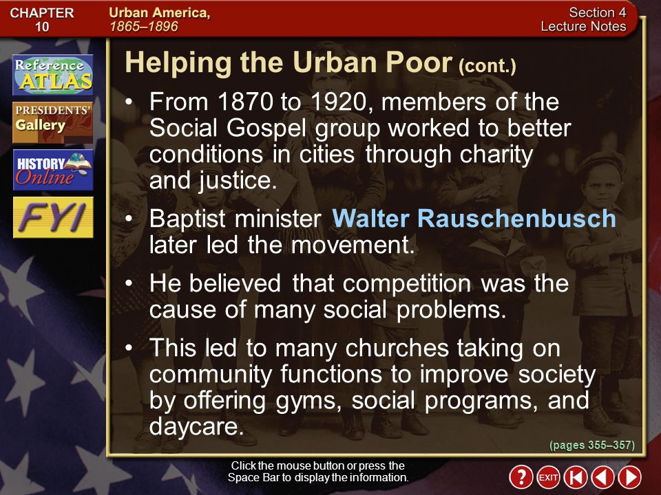 Helping the Urban Poor (cont.)