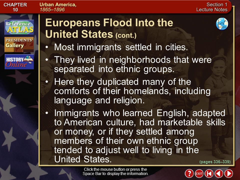Europeans Flood Into the United States (cont.)