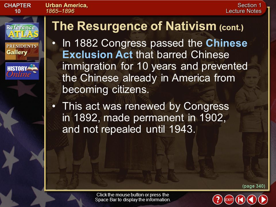 The Resurgence of Nativism (cont.)